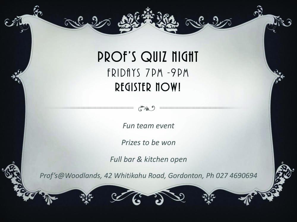 Prof's quiz night