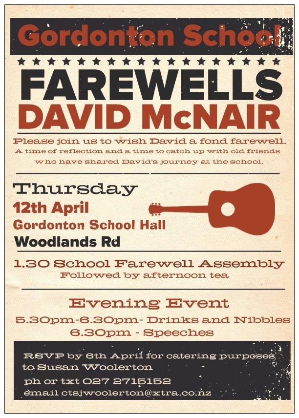 A fond fairwell to David
