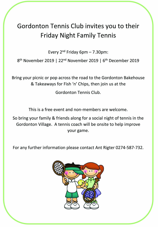 Ad for local tennis club